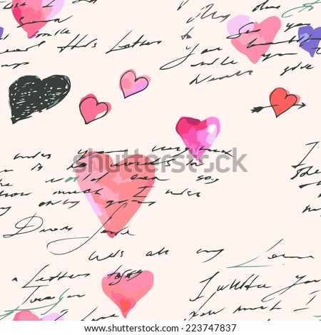 Seamless vintage text pattern, walentine's day design - stock vector