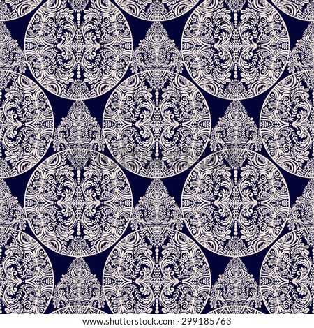 Seamless vintage vector background. Wallpaper baroque pattern, for textile design.  Elegant linear style floral ornament, isolated. - stock vector