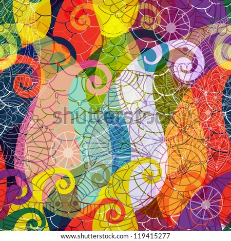 Seamless vivid colorful translucent pattern with paisley and mandala (vector EPS 10) - stock vector