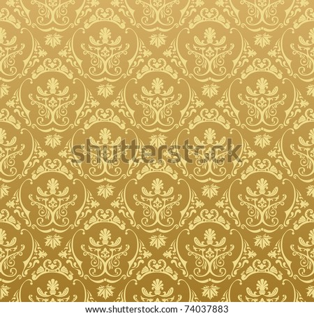 Seamless wallpaper background floral vintage gold vector - stock vector