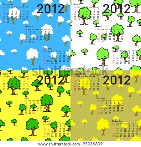 seamless wallpaper 2012 calendar days of the year. Rasterized version also available in portfolio. - stock vector