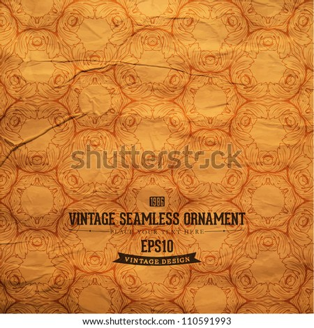 Seamless Wallpaper, Detailed Vector Background with antique and baroque engraving flowers - stock vector