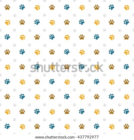 Seamless wallpaper illustration of cat paw prints - stock vector