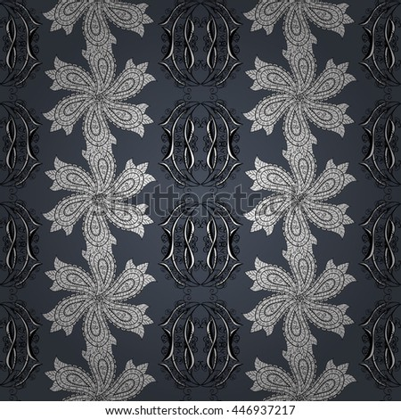 Seamless wallpaper pattern in vintage style on dark blue background. - stock vector
