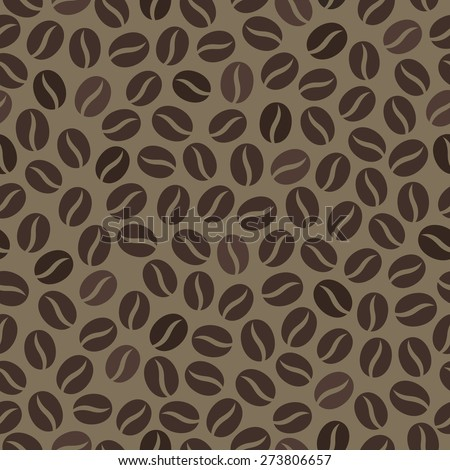 Seamless wallpaper pattern with coffee beans - stock vector