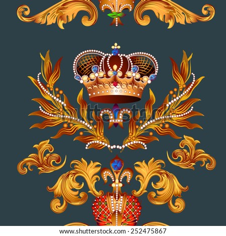 Seamless wallpaper pattern with fleur de lis and crowns - stock vector