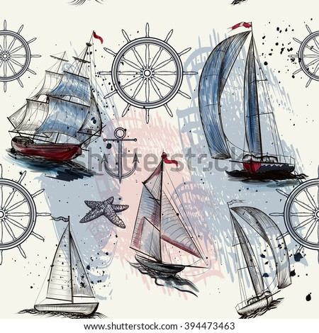 Seamless wallpaper pattern with ships drawn in watercolor style for design - stock vector