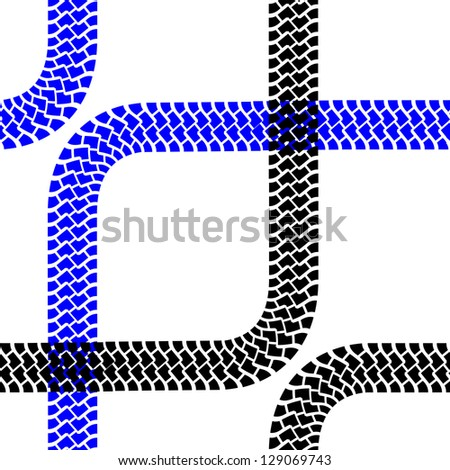 Seamless wallpaper tire tracks pattern illustration vector background - stock vector
