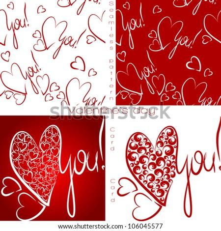 Seamless wallpaper. Valentine I Love You Vector. Valentine's Day. Valentine's set. Calligraphic headlines. Valentine card. Vector illustration. - stock vector