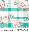seamless wallpaper vintage flower rose with check pattern background - stock vector