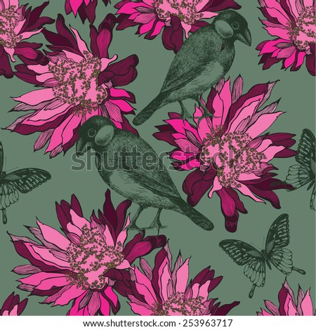 Seamless wallpaper with abstract flowers and birds, hand-drawing. Vector illustration. - stock vector