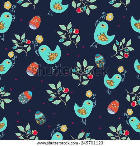 Seamless wallpaper with chicken and egg. Easter pattern. Print fabric. - stock vector