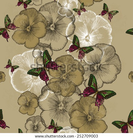 Seamless wallpaper with pansies and butterflies. Vector illustration. - stock vector