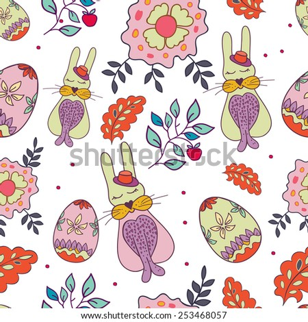 Seamless wallpaper with rabbit and eggs - stock vector