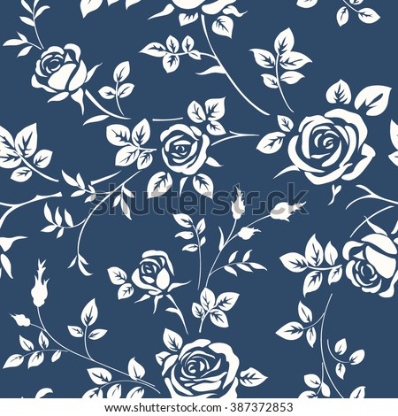 Seamless wallpaper with roses  - stock vector