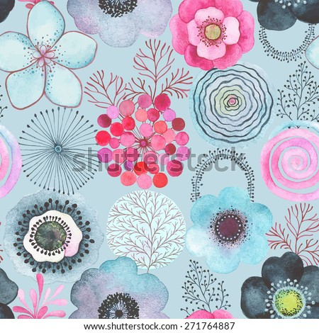 Seamless watercolor abstraction floral pattern on turquoise background in vintage style. - stock vector