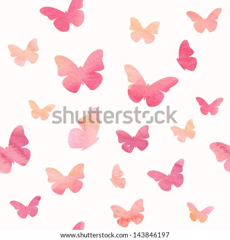 Seamless watercolor butterfly pattern. Vector illustration - stock vector