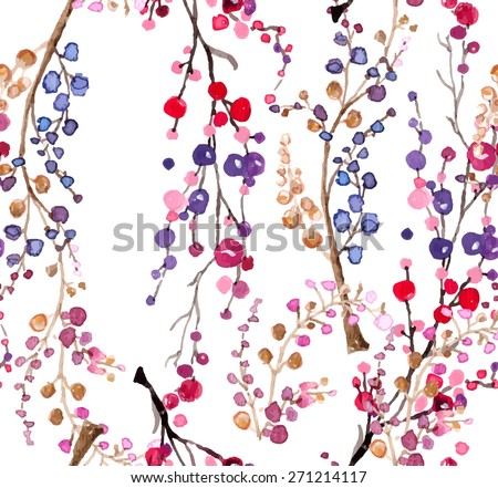 Seamless watercolor floral background, beautiful natural pattern, Vector - stock vector