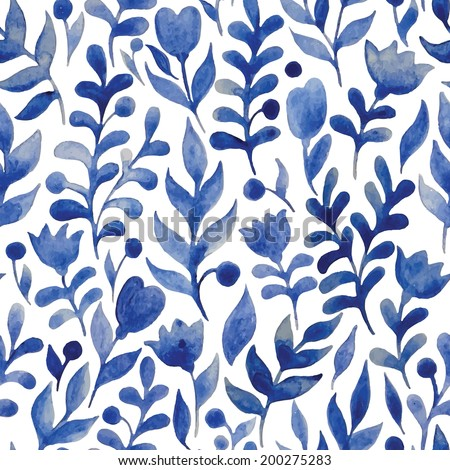 Seamless watercolor hand-drawn pattern, floral background. - stock vector