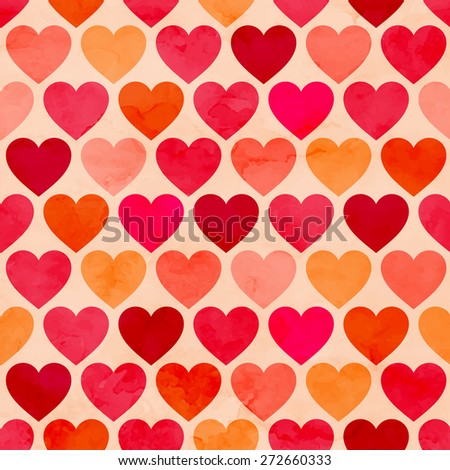 Seamless watercolor heart pattern. Vector background - stock vector