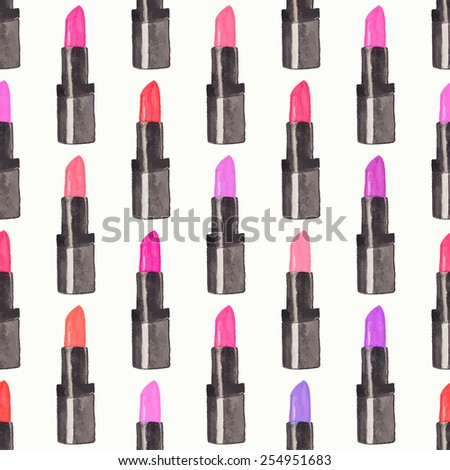 Seamless watercolor pattern with beauty items on the white background, aquarelle lipstick.  Vector illustration. Hand-drawn original cosmetics background. Useful for invitations, scrapbooking, design. - stock vector