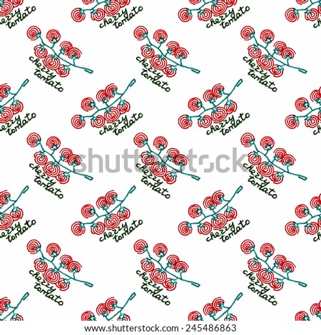 Seamless watercolor pattern with cherry tomatoes on the white background. Vector illustration. Hand-drawn background. Original vegetable background. Useful for invitations, scrapbooking, design. - stock vector