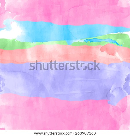 Seamless watercolor rows pattern for background. Vector illustration. - stock vector