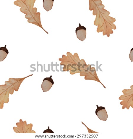 seamless watercolor vector pattern with autumn oak leaves and acorns - stock vector