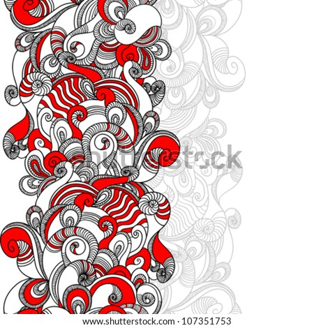 Seamless wave hand drawn pattern. Abstract background. - stock vector