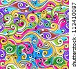 Seamless wave hand drawn pattern for your design, abstract background - stock vector