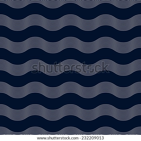 seamless wave pattern of parallel lines on dark blue background. - stock vector