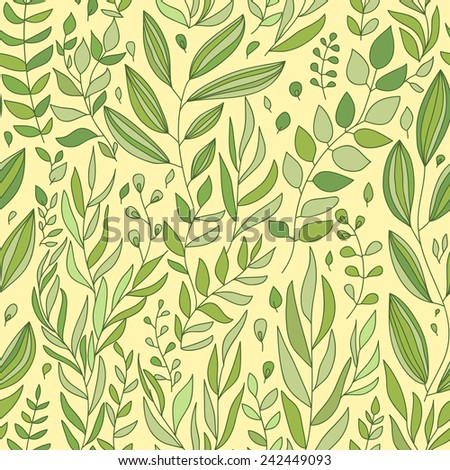 Seamless wave plants hand-drawn pattern, waves background.Can be used for wallpaper, pattern fills, web page background,surface textures.  - stock vector