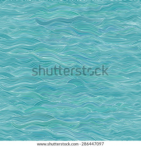 Seamless waves background. Vector abstract hand-drawn pattern.  - stock vector