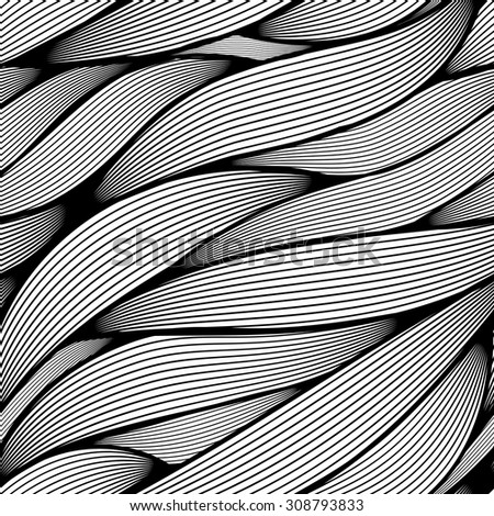 Seamless wavy line leaves vector pattern.  - stock vector