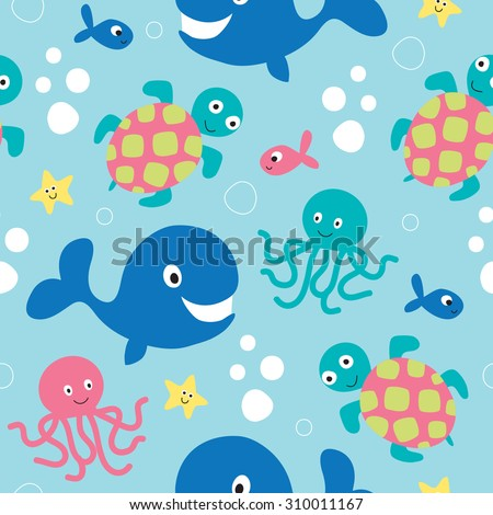 seamless whale, octopus, turtle, fish pattern vector illustration - stock vector