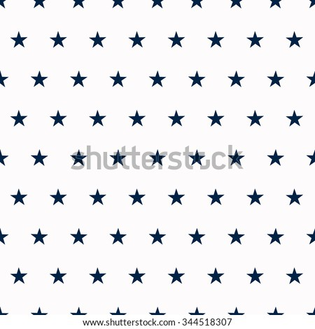 Seamless white background with blue stars - stock vector