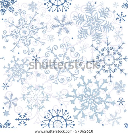 Seamless white-blue pastel Christmas pattern (vector) - stock vector