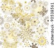 Seamless white christmas pattern with golden snowflakes and butterflies (vector) - stock vector