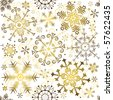 Seamless white christmas pattern with golden snowflakes (vector) - stock vector