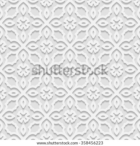 Seamless white 3D pattern,  east ornament, Indian ornament, vector EPS 10. Endless texture can be used for wallpaper, pattern fills, web page  background,surface textures. - stock vector