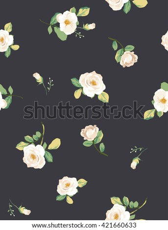 seamless white flower pattern with navy background - stock vector