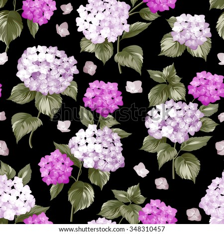 Seamless white flowers pattern for fabric design. Seamless pattern over black background. Flower pattern of violet hydrangea flowers over black background. Seamless texture. Vector illustration. - stock vector
