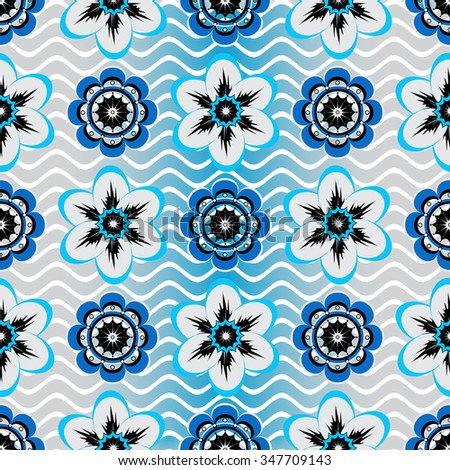 Seamless white-gray-blue floral pattern with vintage flowers, vector - stock vector