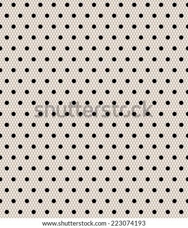 Seamless white polka dot pattern on a sweet pastel pink tulle background. vector art image illustration background for web design, blog, desktop wallpaper, invitation, wedding or baby shower album... - stock vector