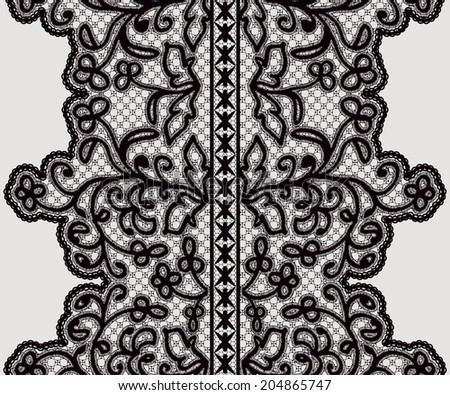 Seamless wide lace ribbon with delicate flowers. Vector illustration. - stock vector
