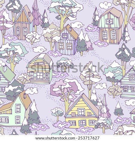 Seamless winter village pattern. Can be used for wallpaper, pattern fills, web page background, surface textures. Small colorful houses on a snowy background with firs and pines. Purple background. - stock vector