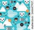 Seamless winter wonderland penguin fish and polar bear illustration background pattern in vector - stock vector