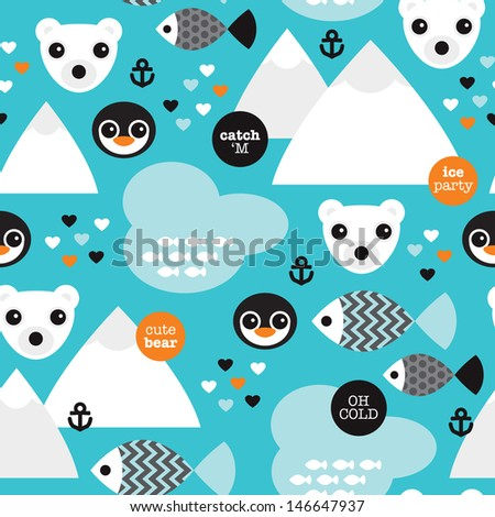 Seamless winter wonderland penguin fish and polar bear illustration background pattern in vector - stock vector