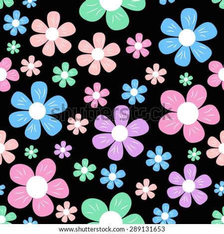 seamless with colorful simple different flowers on black background, childish pattern, vector illustration - stock vector