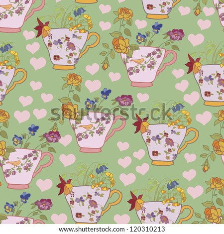 Seamless with cups and flowers  background, wallpaper, fabric - stock vector